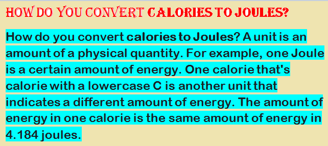 calories to joules
